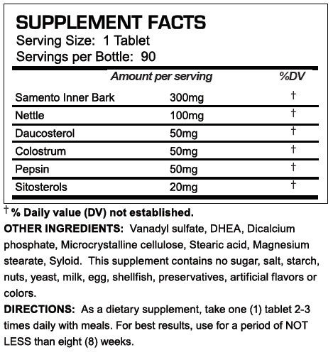 T-Bal 75 Supplement Facts