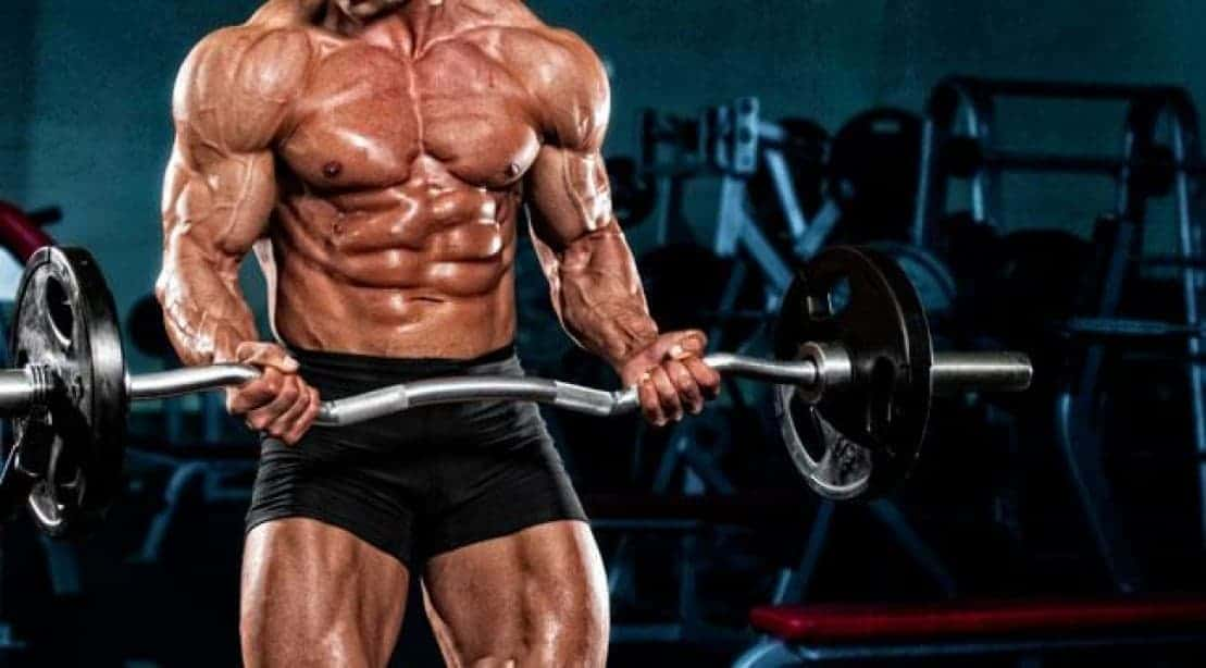 muscular bodybuilder lifting weights in gym